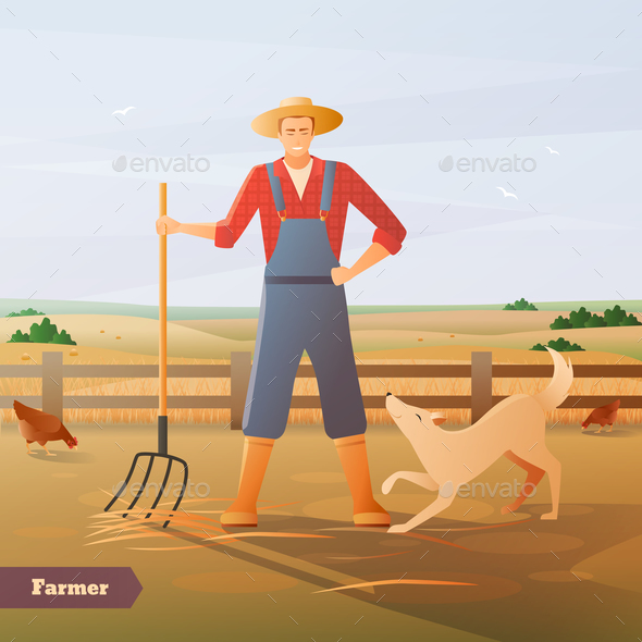 GraphicRiver Farmer At Paddock Flat Composition 20596633