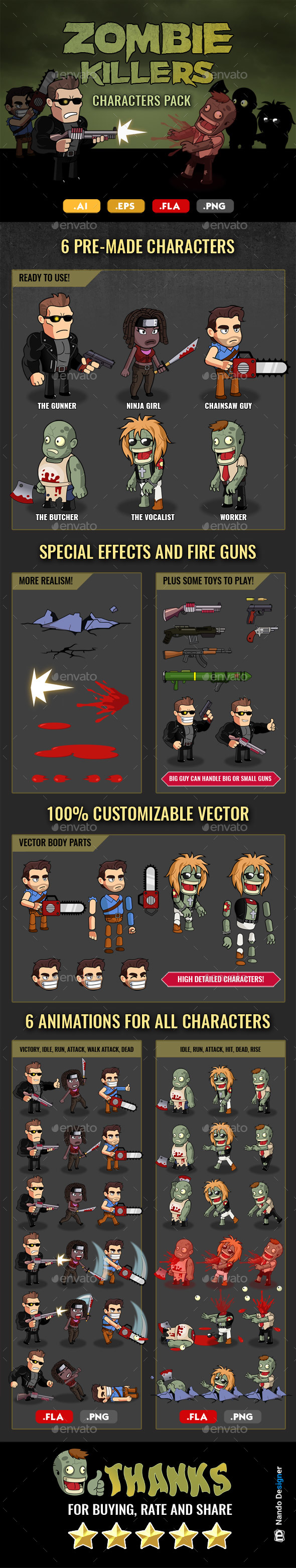 GraphicRiver Zombie Killers Characters n Guns Pack 20589699