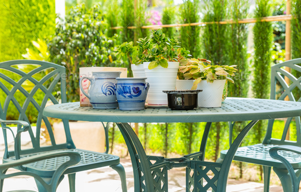 Outdoor patio with plants - Stock Photo - Images