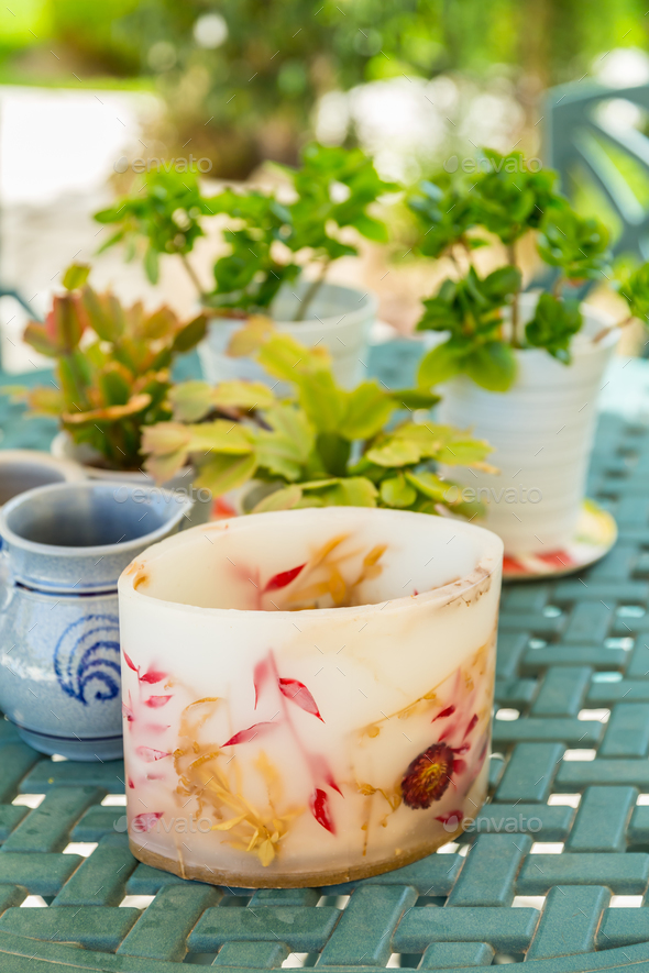 Detail of candle with plants - Stock Photo - Images