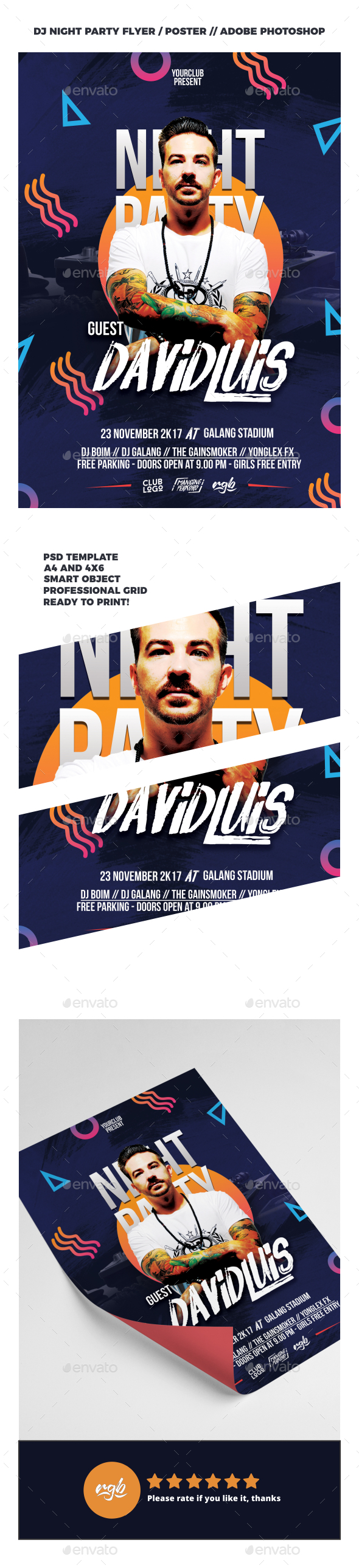 DJ Night Party Flyer Template - Clubs & Parties Events