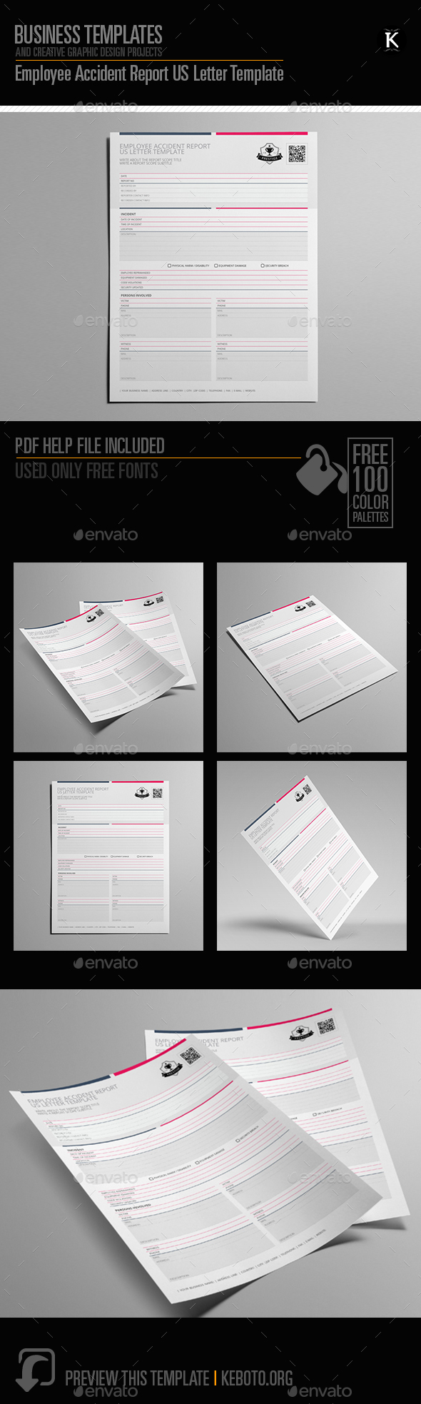 Employee Accident Report US Letter Template by Keboto | GraphicRiver