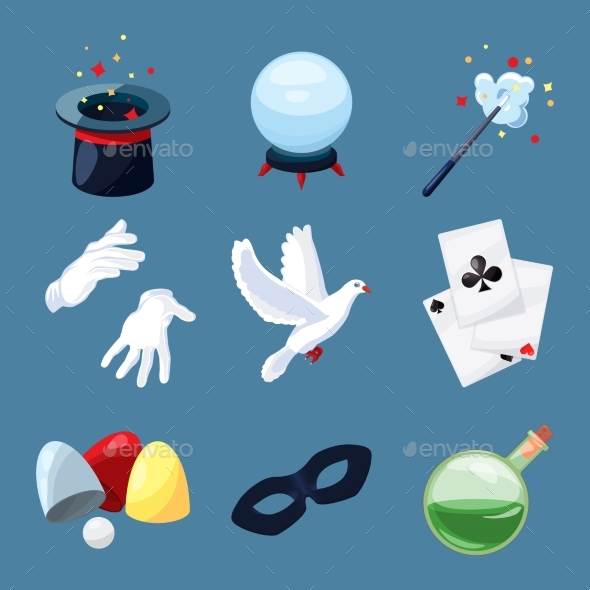 Magician Icons Set. Surprise Vector Illustrations - Objects Vectors