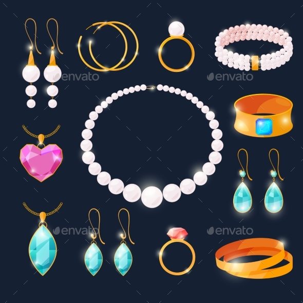 GraphicRiver Luxury Jewels Set Rings with Diamonds and Other 20596776
