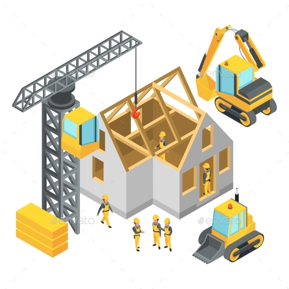 GraphicRiver Building Under Construction Isometric Pictures 20596782