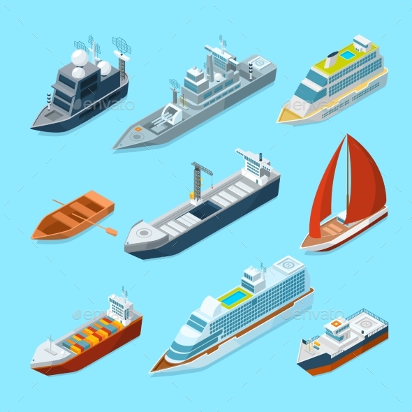 Isometric Passenger Sea Ships and Different Boats - Objects Vectors
