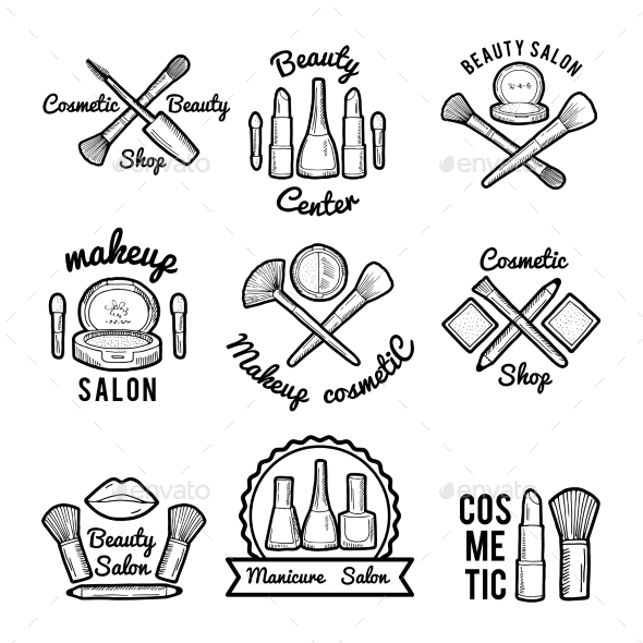 Labels Set for Beauty Salon. Monochrome Pictures - Web Elements Vectors