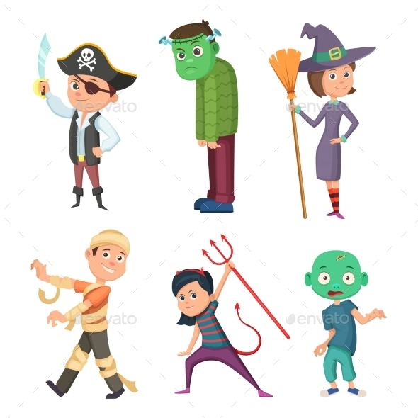 GraphicRiver Halloween Cartoon Costume for Kids 20596792