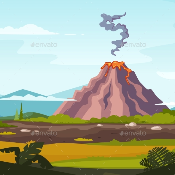 Wild Landscape with Volcano and Lava. Cartoon - Miscellaneous Vectors