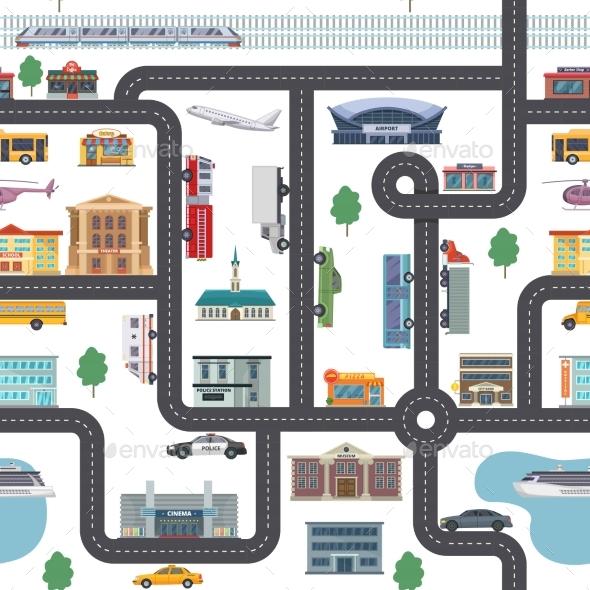 Urban Landscape with Different Shops, Buildings - Miscellaneous Vectors