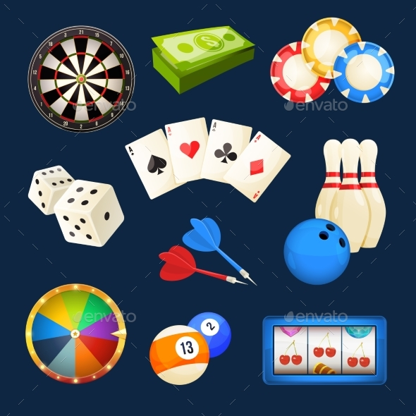 Dice, Snooker, Casino Games, Cards and Other - Objects Vectors