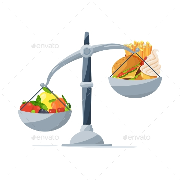 Healthy Food and Fast Food on the Scales. Choose - Food Objects