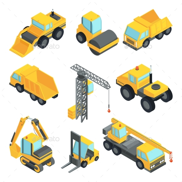 GraphicRiver 3D Transport for Construction Industry Vector 20596820