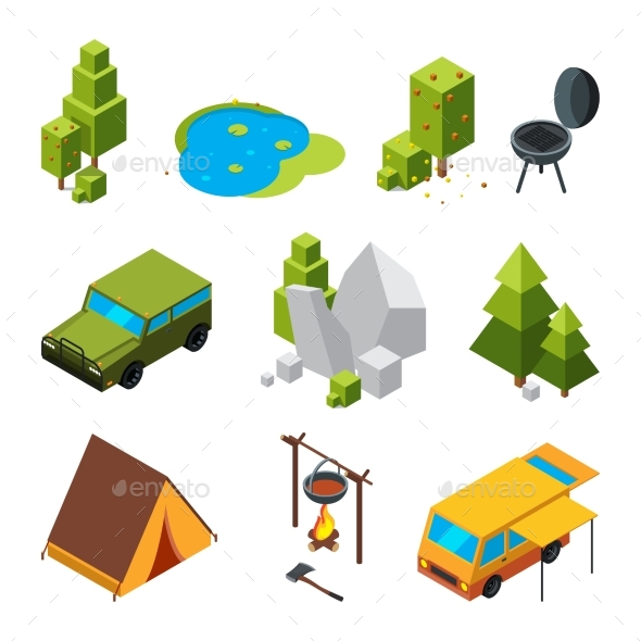 Isometric Pictures of Camping.
