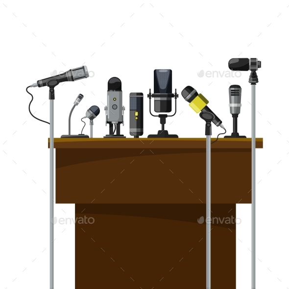 GraphicRiver Tribune for Speakers and Different Microphones 20596836