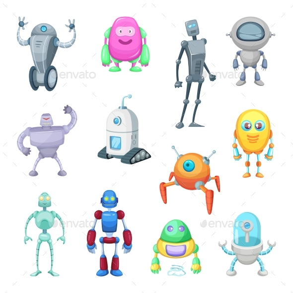 Characters of Funny Robots in Cartoon Style - Objects Vectors