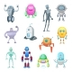 Characters of Funny Robots in Cartoon Style