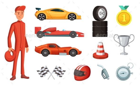 GraphicRiver Sport Cars and Different Racing Icons Set 20596878