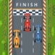 Racing Cars on Finish Line Top View Racing
