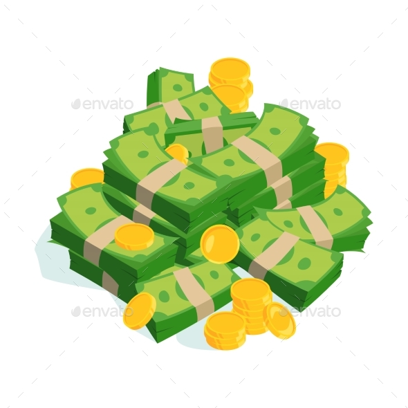 Bundles of Money and Coins - Man-made Objects Objects