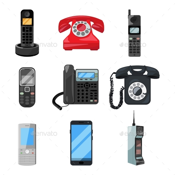 Different Telephones and Smartphones - Communications Technology