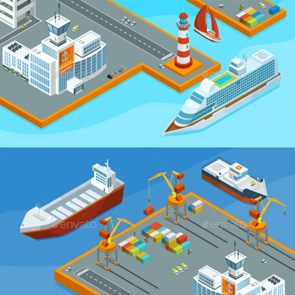 GraphicRiver Horizontal Vector Banners with Sea Ships in Port 20596895