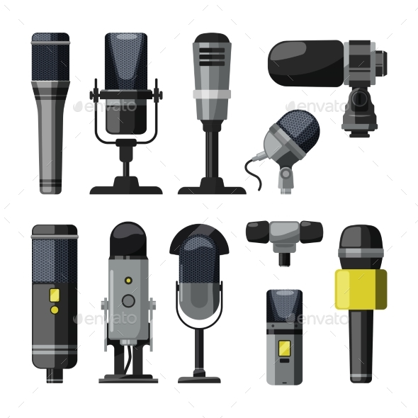 Microphone and Other Professional Speaker Tools - Man-made Objects Objects