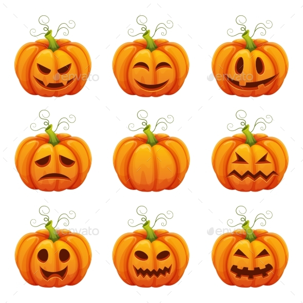 Pumpkin with Funny Faces. Halloween Cartoon - Miscellaneous Vectors