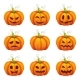 Pumpkin with Funny Faces. Halloween Cartoon