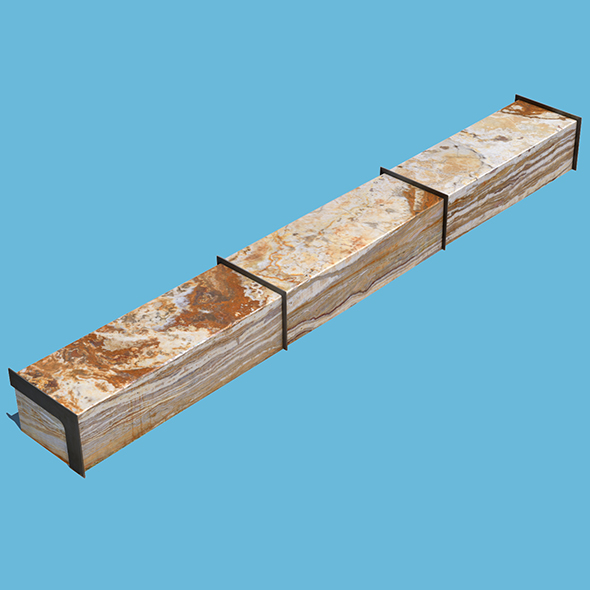 3DOcean Long Marble Bench 20597363