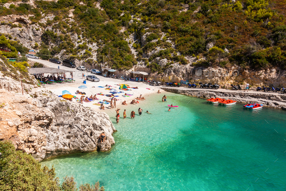 view of Porto Vromi beach in Zakynthos (Zante) island, in Greece - Stock Photo - Images