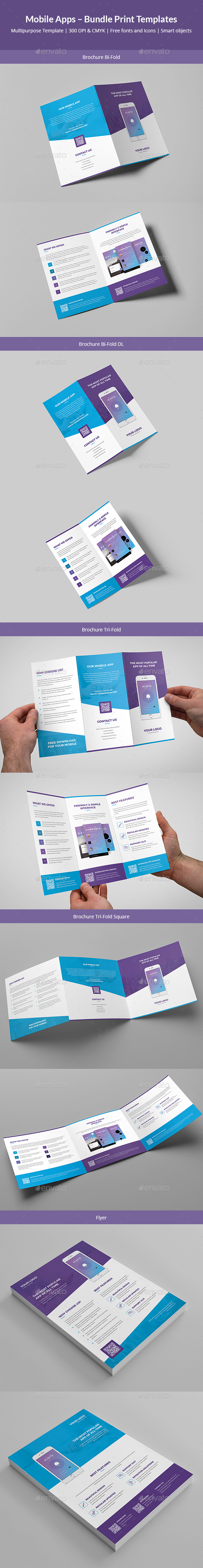Mobile Apps – Bundle Print Templates - Corporate Brochures