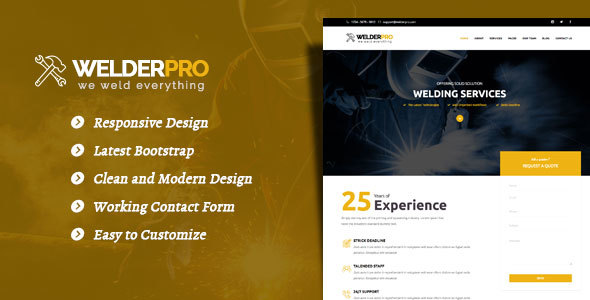 Welder Pro - WordPress Theme for Welding Contractor - WordPress
