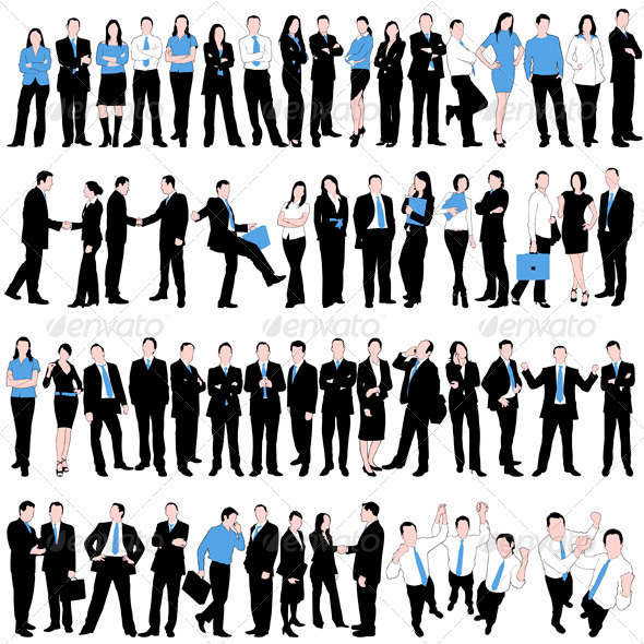 60 Business People Silhouettes Set - People Characters
