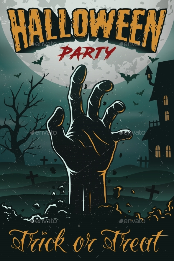 Halloween Party Poster with Zombie Hand - Halloween Seasons/Holidays