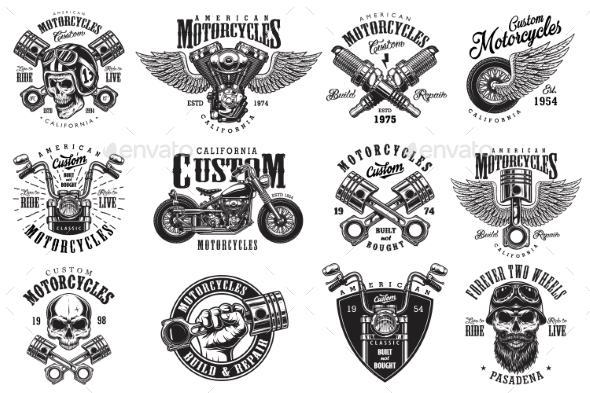 GraphicRiver Set of Custom Motorcycle Emblems 20598314