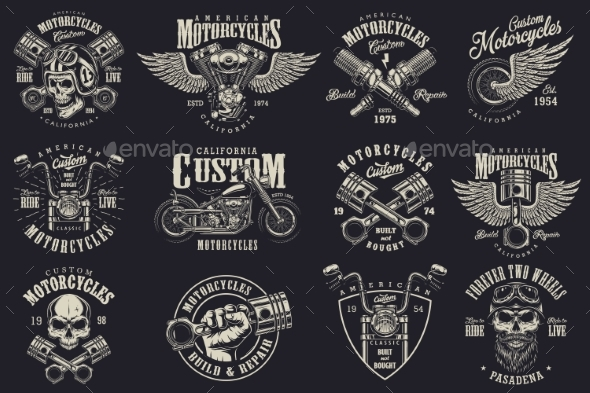 GraphicRiver Set of Custom Motorcycle Emblems 20598316