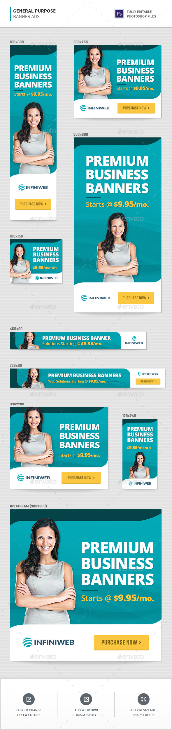 General Banner Ad Templates - Banners & Ads Web Elements