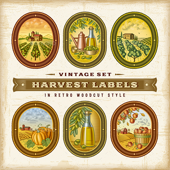 Vintage Colorful Harvest Labels Set - Food Objects