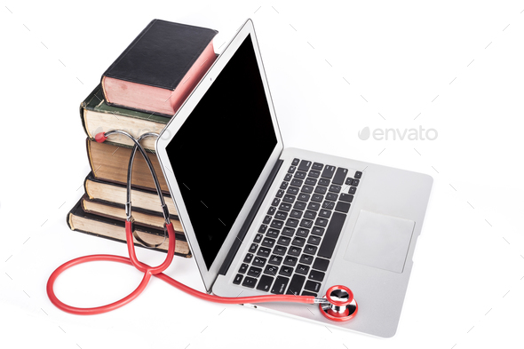 Red Stethoscope and Books - Stock Photo - Images