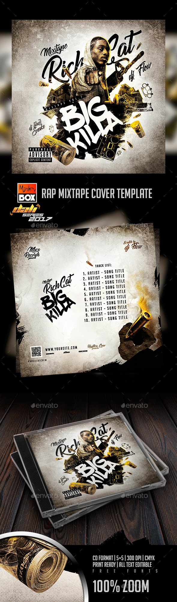 Rap Mixtape Cover Template - CD & DVD Artwork Print Templates
