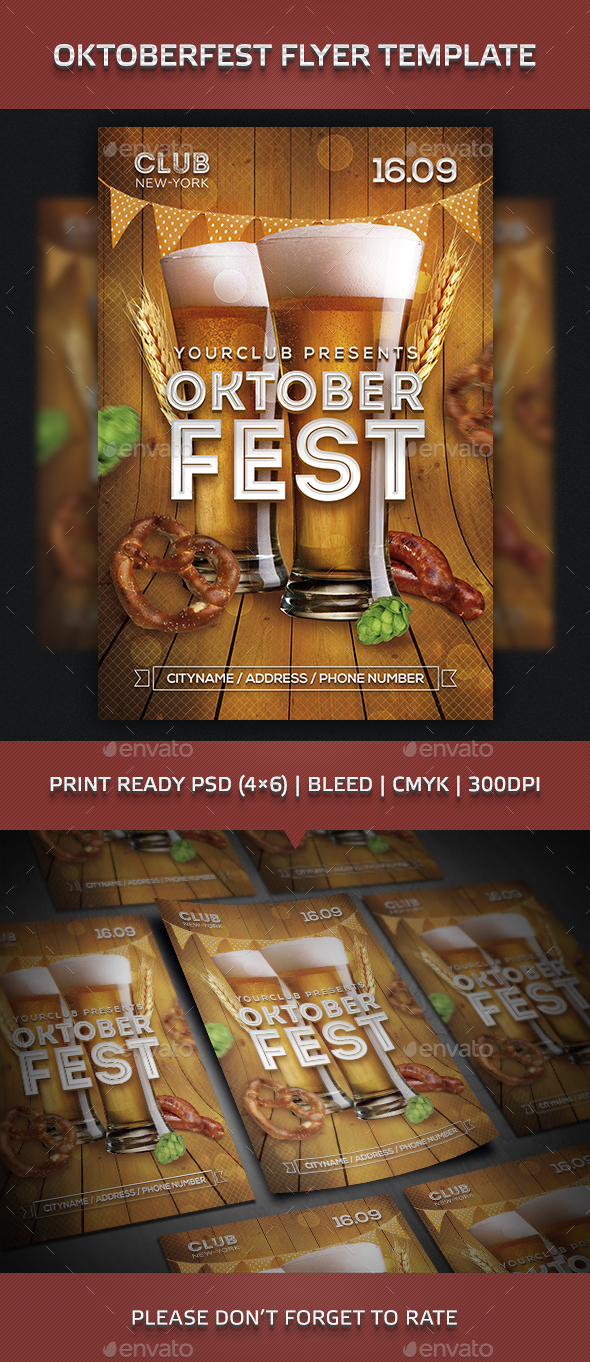 Oktoberfest Beer Festival Party Flyer Template - Clubs & Parties Events