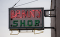 Old Small Town Neaon Beauty Shop Sign Vintage Signage
