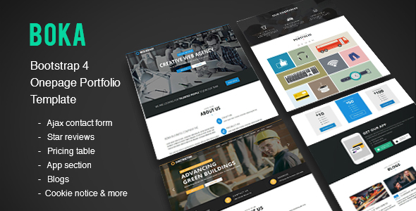 ThemeForest Boka Bootstrap 4 Onepage Template for Construction Corporate & Web Agency Template 19769018