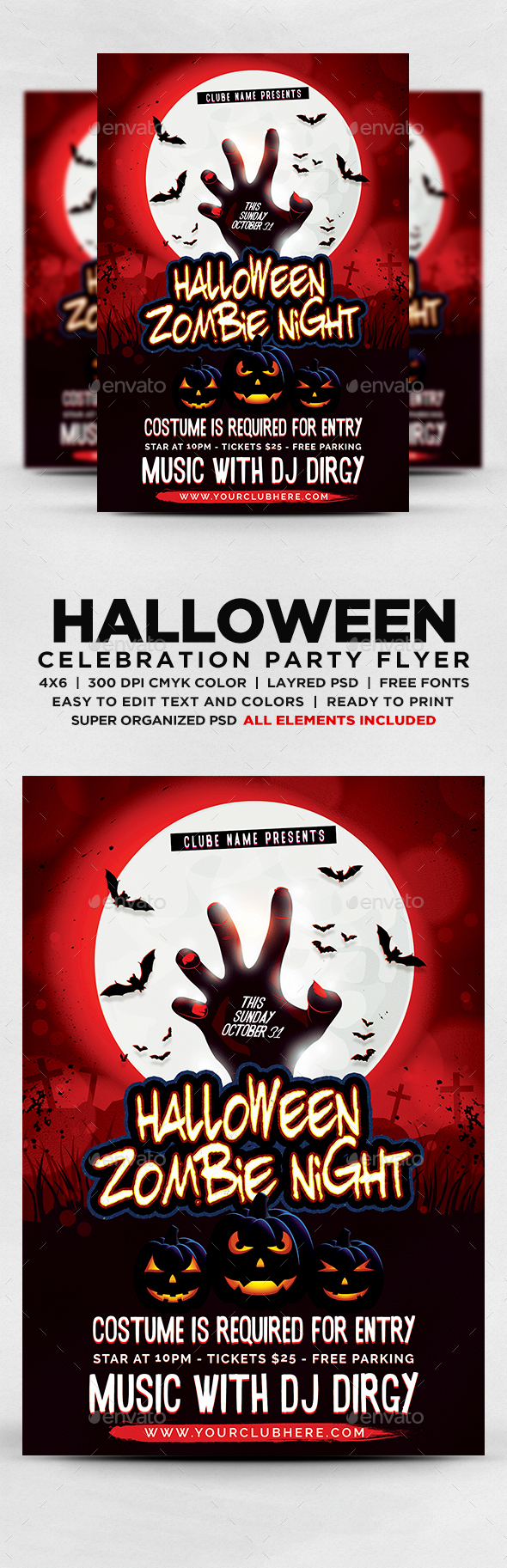 GraphicRiver Halloween Zombie Night Party Flyer 20598680