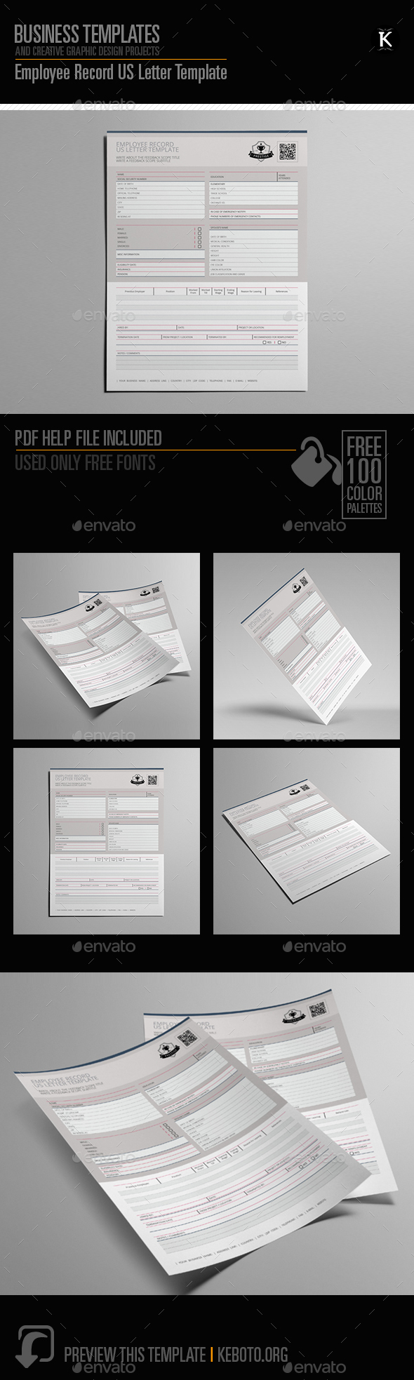 Employee Record US Letter Template - Miscellaneous Print Templates