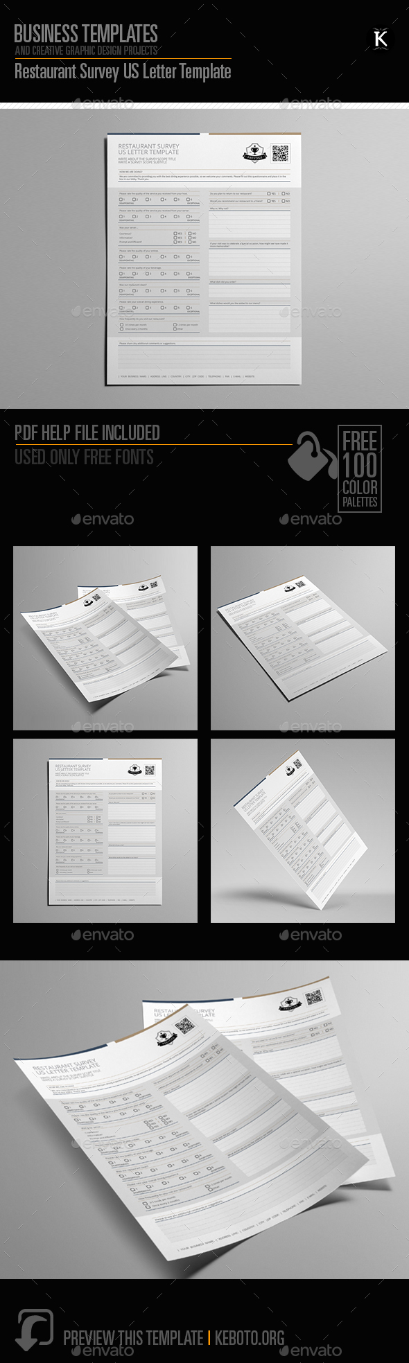 Restaurant Survey US Letter Template - Miscellaneous Print Templates