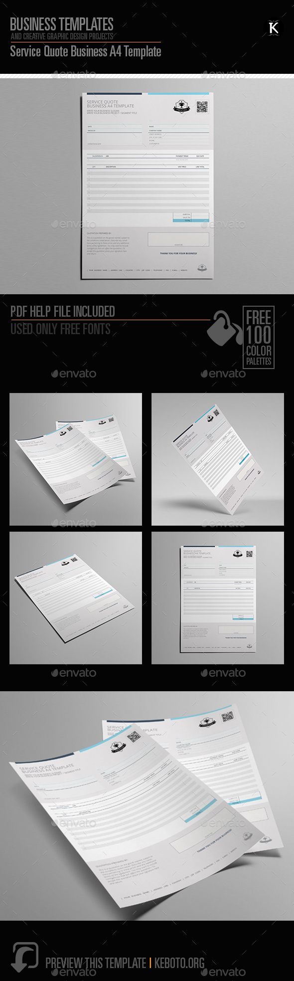 Service Quote Business A4 Template - Miscellaneous Print Templates