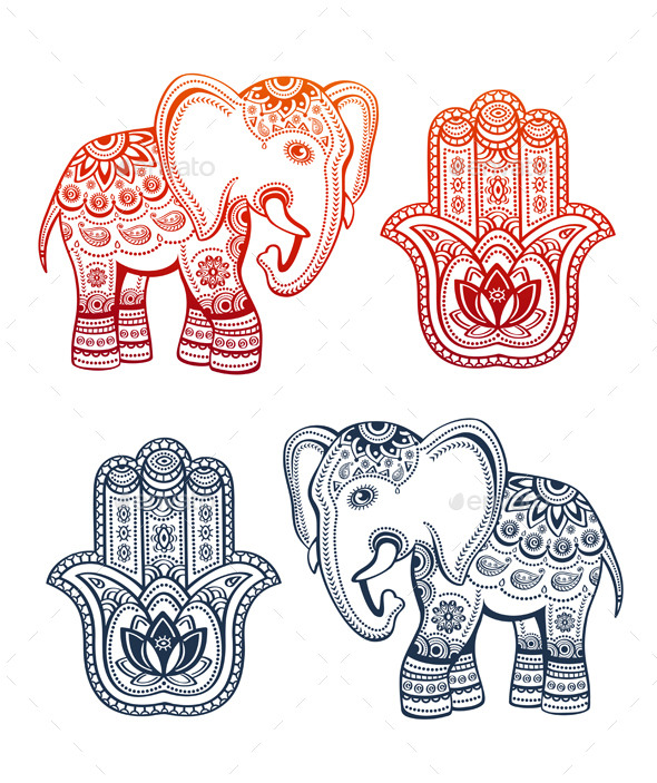 Indian Ethnic Elephant and Hamsa Hand - Decorative Symbols Decorative