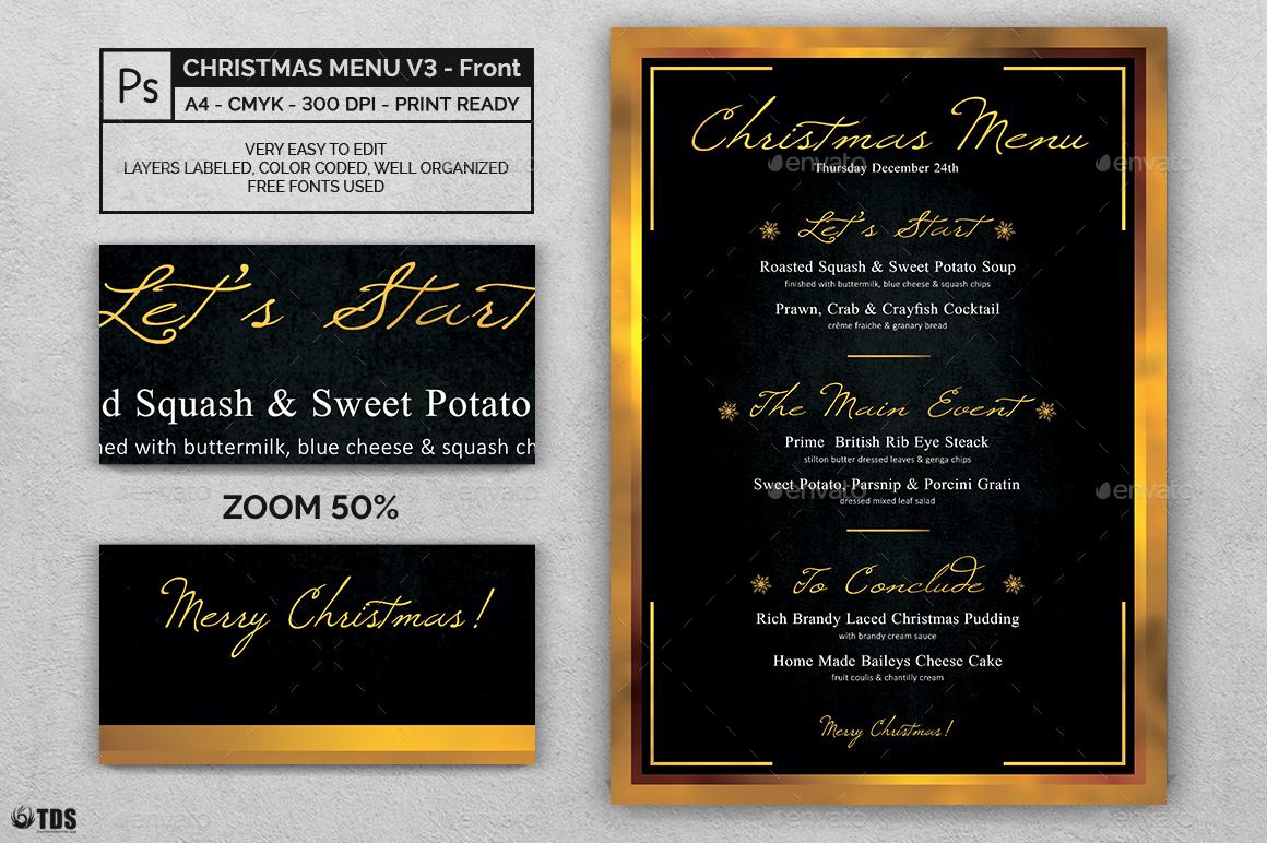 christmas menu template v3 by lou606